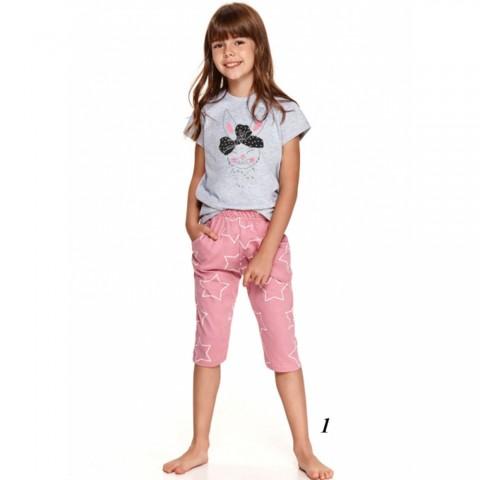 Świetna piżama dziewczęca szaro-różowa w gwiazdki 134 140