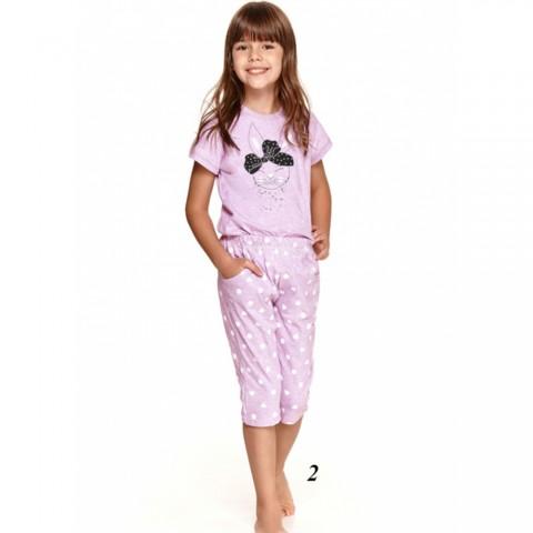 Piękna piżama dziewczęca w kolorze liliowym z królikiem 134 140