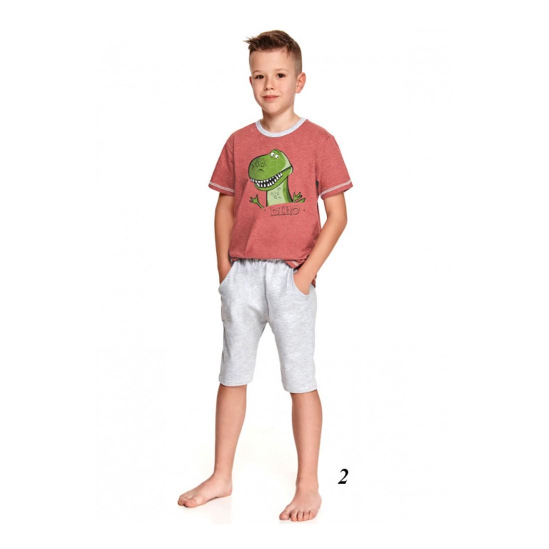 Piżama chłopięca szara wzór z dinozaurem 104 110
