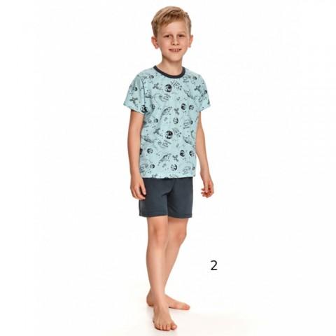 Bawełniana piżama chłopięca niebieska z ciemnym wzorem  98 104 110 128 146 152