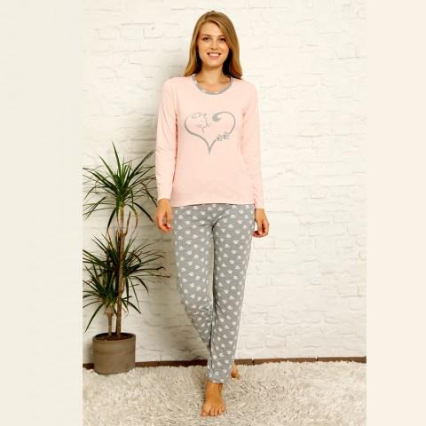 Wygodna piżama damska bawełniana z sercem S M L XL 2XL