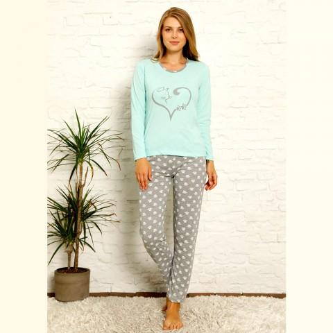 Miętowa piżama damska bawełniana nadruk z sercem S M L XL 2XL