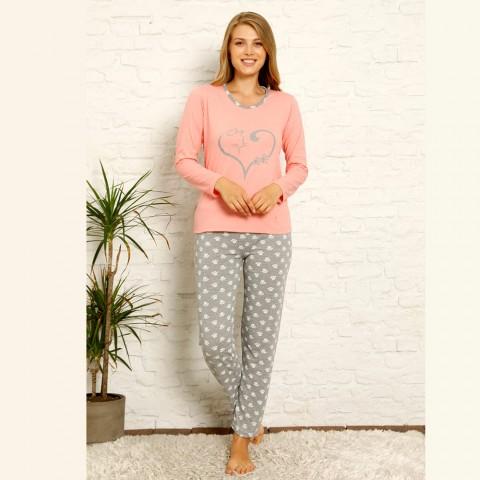 Damska piżama bawełniana różowa szary nadruk S M L XL 2XL