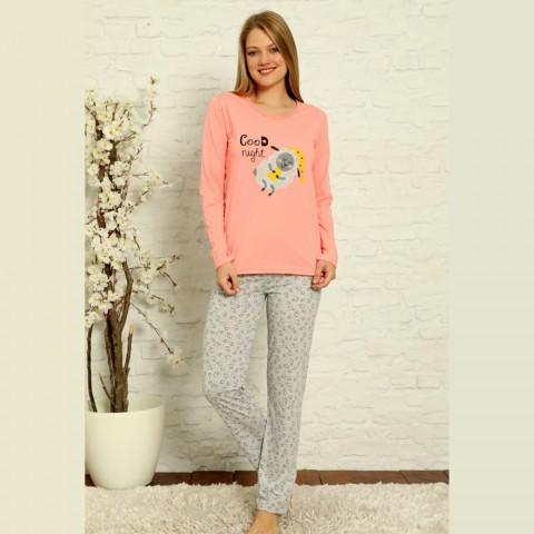 Różowa piżama damska ciepła bawełniana z nadrukiem S M L XL 2XL