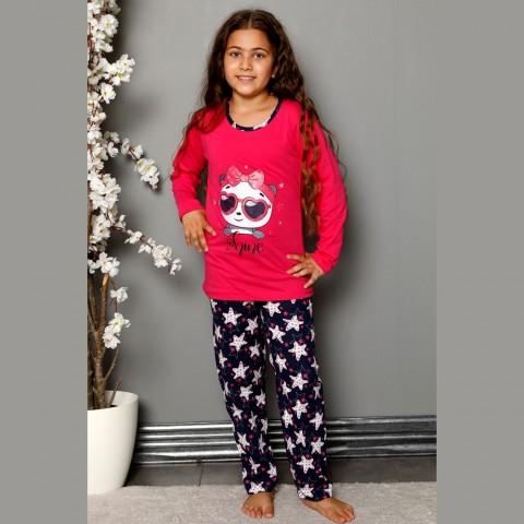 Piżama dziewczęca bawełna różowa z nadrukiem 134 do 164