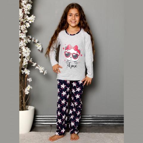 Jasnoszara piżama z nadrukiem dziewczęca bawełna 134 do 164