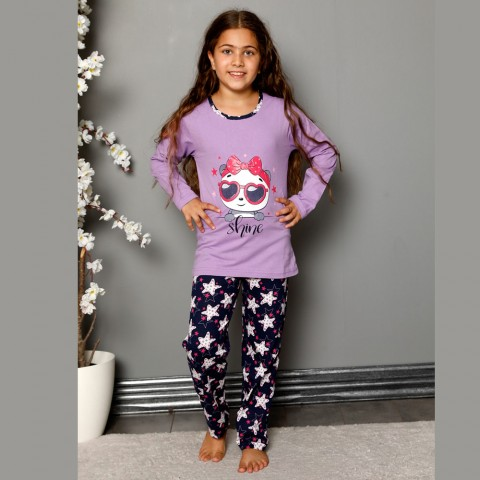 Fioletowa piżama dziewczęca bawełna w gwiazdki 134 do 164