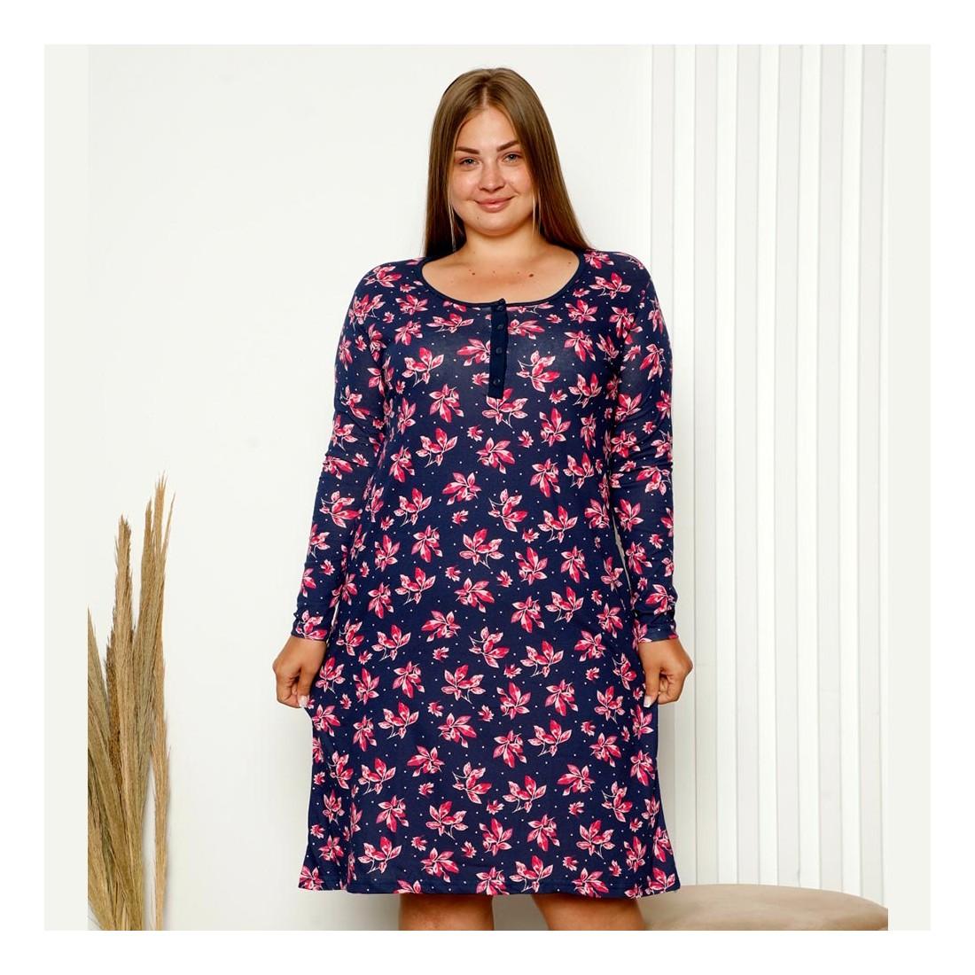 Granatowo-różowa koszula nocna damska w kwiaty XL 2XL 3XL 4XL