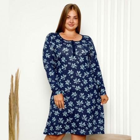 Granatowo-niebieska damska koszula nocna wzór w kwiaty XL 2XL 3XL 4XL