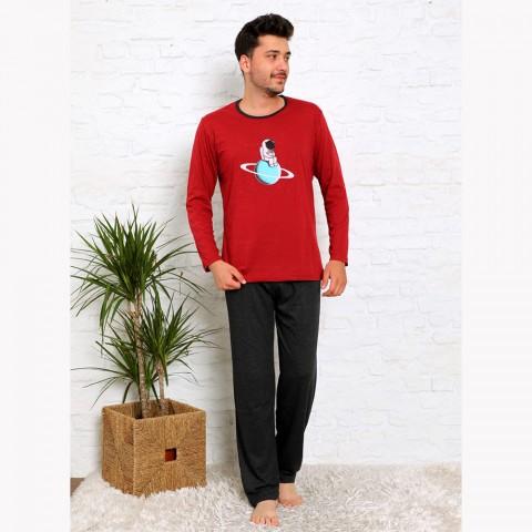 Piżama męska bawełna czerwona z nadrukiem M L XL 2XL