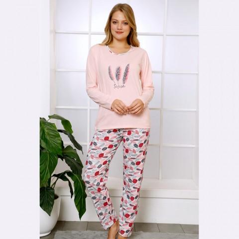 Jasnoróżowa bawełniana piżama damska w piórka S M L XL