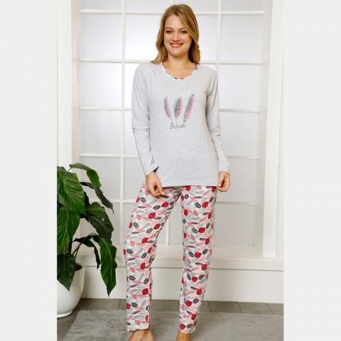 Urocza bawełniana damska piżama wzór w pióra S M L XL