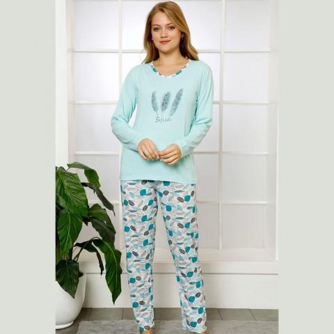Miętowa piżama damska bawełniana z wzorem S M L XL