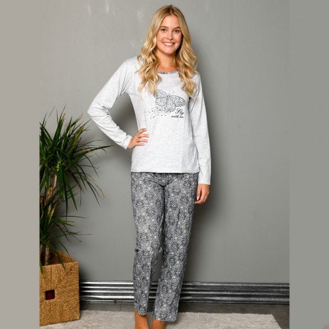 Monochromatyczna szara piżama damska nadruk z motylem S M L XL