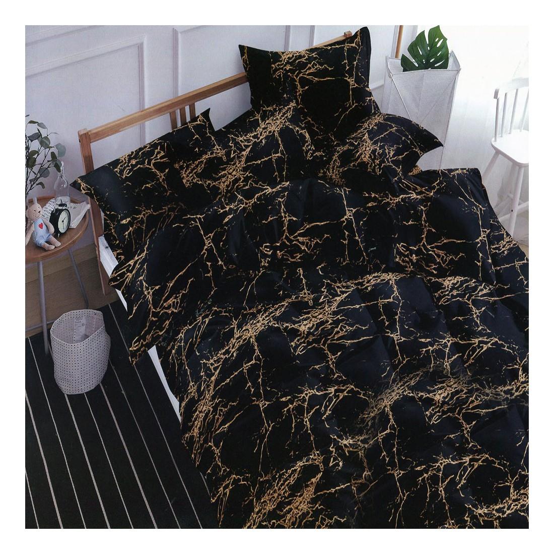 Czarna pościel wzór marmurkowy 160x200