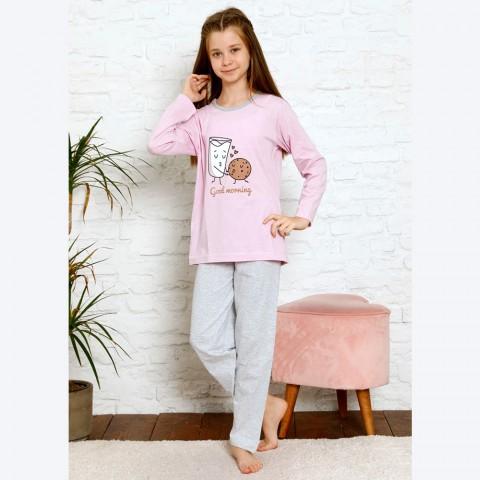 Urocza różowa piżama dziewczęca z dużym nadrukiem 134 do 164