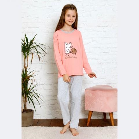 Dziewczęca różowo-szara piżama z super nadrukiem 134 do 164