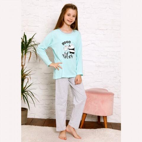 Urocza dziewczęca piżama panda kolor miętowy 134 do 164