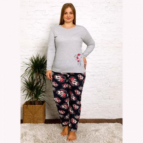Granatowo-szara piżama damska plus size w kwiaty XL 2XL 3XL 4XL
