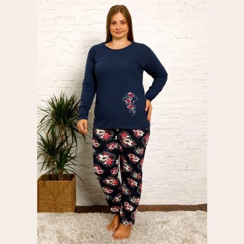 Piżama damska plus size w kolorze granatowym kwiaty XL 2XL 3XL 4XL