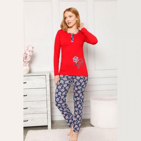Wyrazista czerwona damska piżama rozpinana z wzorem M L XL 2XL
