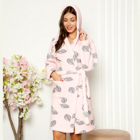 Uroczy szlafrok damski z polaru pudrowo-różowy w liście S M L XL